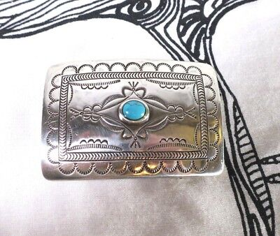 Vintage SILVER BELT BUCKLE Western Turquoise Gemstone One Size Great Condition
