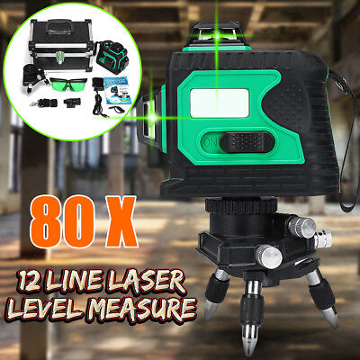 80X 3D 12 Line 360° Laser Auto Self Leveling Vertical Horizontal Level Cross Hot