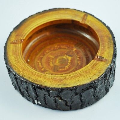 "6"" Dia Wooden Round Brown Black Ash Holder Smoke Cigarette Ashtray G5Z8"