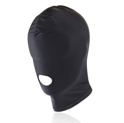Black Padded Spandex Full Hood Mask Open Mouth Stretchy Blindfold Gimp Costume .