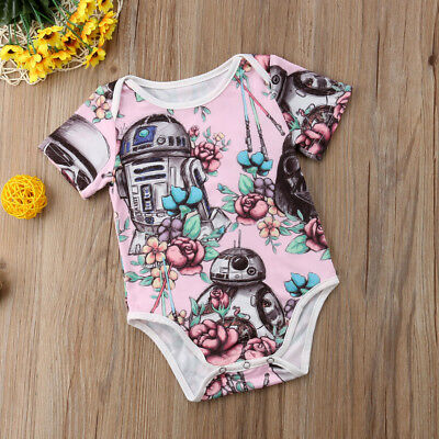 USA Canis Newborn Baby Girls Star Wars Flower Romper Bodysuit Outfit Set Sunsuit