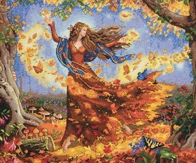 "DIMENSIONS  GOLD COLLECTIONS ""FALL FAIRY""CROSS STITCH KIT  Kreuzstich-Stickpack"