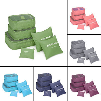 6 Pcs Waterproof Clothes Storage Bags Packing Cube Travel Luggage Organizers