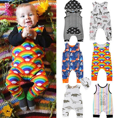 Newborn Kids Baby Boys Girls Sleeveless Romper Playsuit Pants Clothes Outfits UK