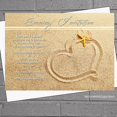 12 x Personalised Starfish Heart Wedding Abroad Wedding Invitations | H1013