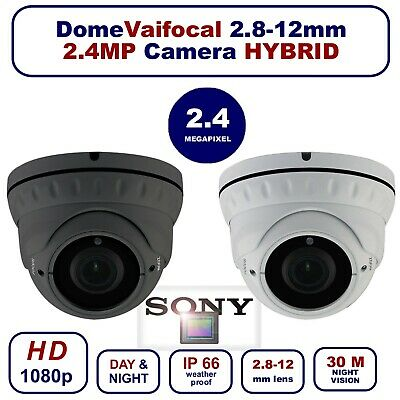 Dome Cctv Camera 2.4Mp Varifocal 2.8-12Mm Tvi Ahd Cvi Cvbs 1080P In/Outdoor Uk
