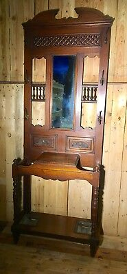 Victorian antique solid carved oak  hallstand coat rack