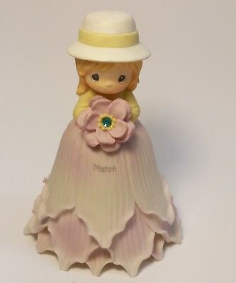 Precious Moments March Flower Girl Bell Holding Flower Lgt. Violet 2000 Delicate
