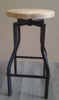 Industrial Beech Seat Bar Stool with Black Metal Base