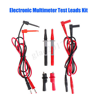 8pc Set Test Clips Leads Kit Heavy Duty Banana Tester Probe For Fluke Multimeter