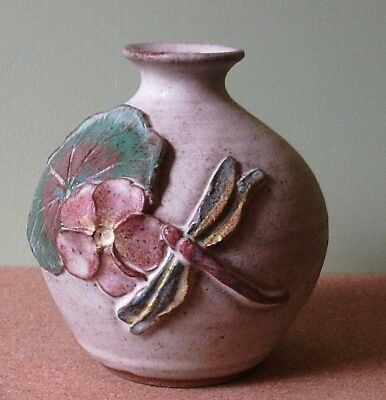 Tregaron Studio Pottery Wales Flower And Dragonfly Design Posy Vase -  New