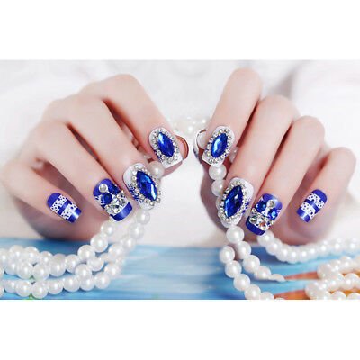 24pcs Blue Fake Nails Bride False Nail Glitter Nail Tips with Glue Nails