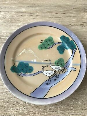 Japanese Hand Painted Plate Mount Fuji and Cranes *Excellent Condition*