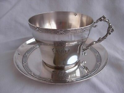 ANTIQUE FRENCH STERLING SILVER TEA CUP & SAUCER,LOUIS 16 STYLE,19th CENTURY.