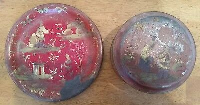 Vintage Red Chinoiserie Chinese Style Red Toleware - Plate & hinged container