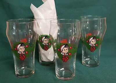 Vintage Big Boy Christmas Holiday Glasses Set of 4