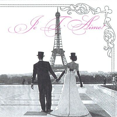 Serviettes En Papier Amoureux/Mariage A Paris.paper Napkins Wedding Paris/Lovers