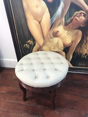 Vintage Victorian Style Ladies Round Deep Buttoned Leather Boudoir Stool