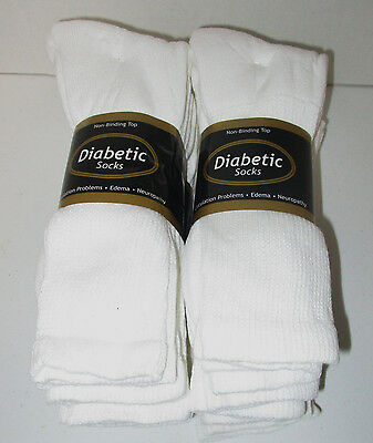 Diabetic Socks 12 Pair White Crew Size 15/17  Non- Binding Top ( Made In U.s.a.)