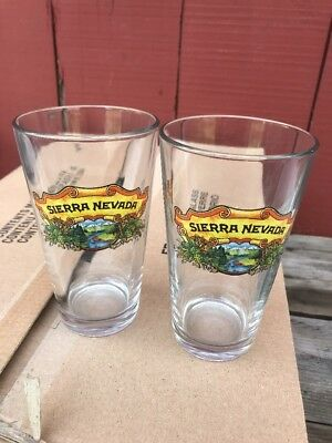 2 Sierra Nevada Beer Pint Glasses Logo Art Rare HTF Glass New Mint Rare