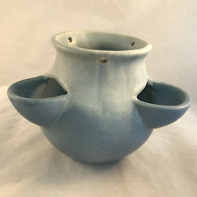 Muncie Blue Variegated Hanging Stawberry Style Vase