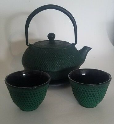 Vintage Cast Iron Tea Pot Kettle Green Wire Basket and Two Cups