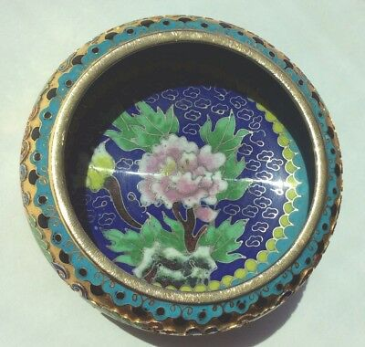 Solid Brass Enameled Relief Bowl - Teal, Blue, Green, Gold, Purple - Flower Leaf
