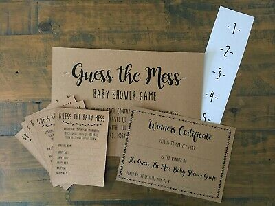 Baby Shower Guess the Mess Nappy Game, Activity, Cards, Nappies, Certificate