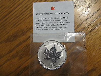 "2000 Canada $5 Maple Leaf ""Hannover Expo Privy"" 99.999 Fine Silver 1 oz. Coin"