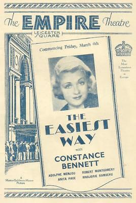 The Empire Theatre Constance Bennett / Adolphe Menjou Programme 6th March 1931