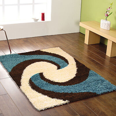 Modern Small Extra Large Runner Soft Swirl Brown Blue Shaggy Clearance Rugs