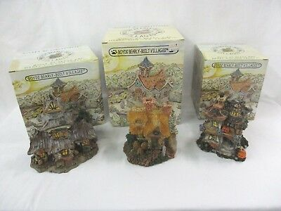 3 Boyds Bears Bearly Built Villages Halloween - Station - Cottage in Boxes (CI)