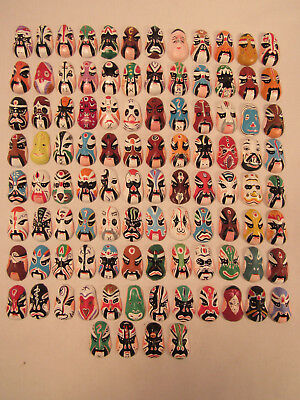 Lot Of 100 Hand Painted Miniature Asian Masks Each Measures 1 1/4 Inch High