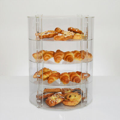 Clear Acrylic Circular Display Case | Countertop Food Storage Display Unit - UK