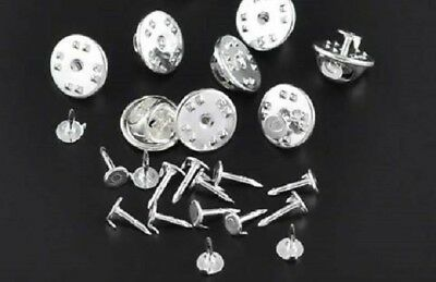 Tie Tac Lapel Pin Brooches Findings Silver Plated clutch squeeze back pack of 10