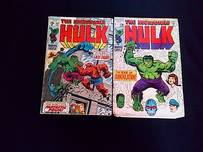 The Incredible Hulk Comic's x 2 116, 122  Vintage Marvel (1969)