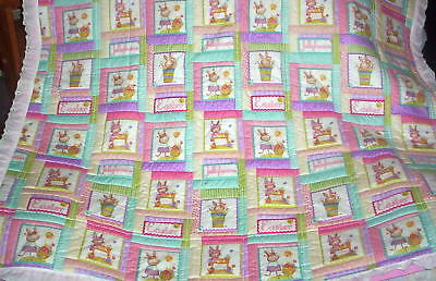 Wonderful Homemade Baby/Lap Quilt  Jelly Beans Babies Bright colored Squares