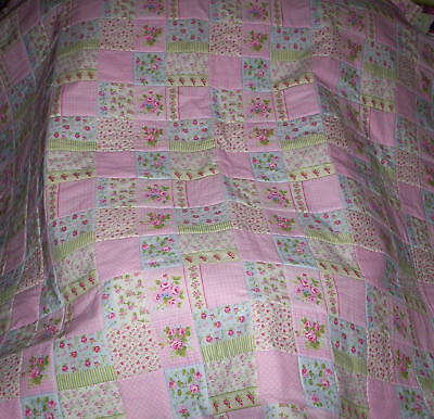 Beautiful Homemade Baby/Lap Quilt    Pink Rose squares with white cotton lace