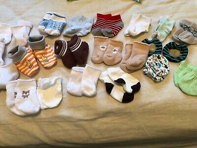 Infant Lot of Newborn Boy Socks and Hand mittens
