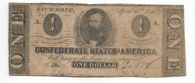 "$1 (Confederate Note) ""rare"" 1800's $1 (Actual Autographs) $1(Confederate)Nice!!"
