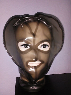 Latexkleidung Maske Haube rauch transparent  RV XL heavy Rubber Gummi