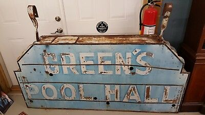 CA 1940s NEON POOL HALL SIGN VINTAGE RARE ANTIQUE GREEN'S POOL HALL COOL UNIQUE