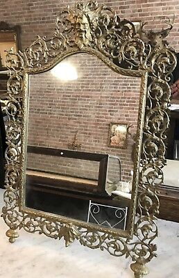 HUGE ANTIQUE VICTORIAN 1880s GILDED AGE BRONZE DRESSER MIRROR WITH FACES