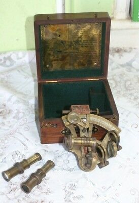 """Nautical brass Sextant Ventura  in wood case """"made for the royal navy"""""""