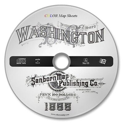 Washington, DC 41 Double Page Color Sanborn Map Sheets on New CD Year 1888