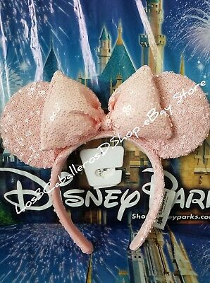 Disney Parks Millenial Pink Sequined Minnie Ears Mouse Ears Headband Rose (NEW)
