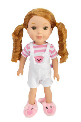 Piggy Party Overall Outfit for Wellie Wisher Dolls