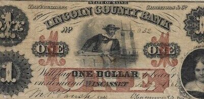 "$1 (""lincoln"" County Bank) 1800's $1 ""lincoln County"" 1800's (Rare Note) ""maine"""