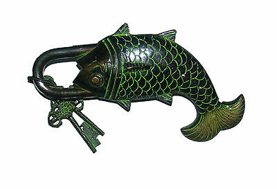 An attractive beautiful engraved big brass FISH designed PADLOCK & 2 keys INDIA