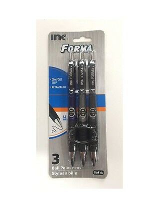 INC FORMA Ballpoint Pens pack of 3 Black Ink 1.0mm